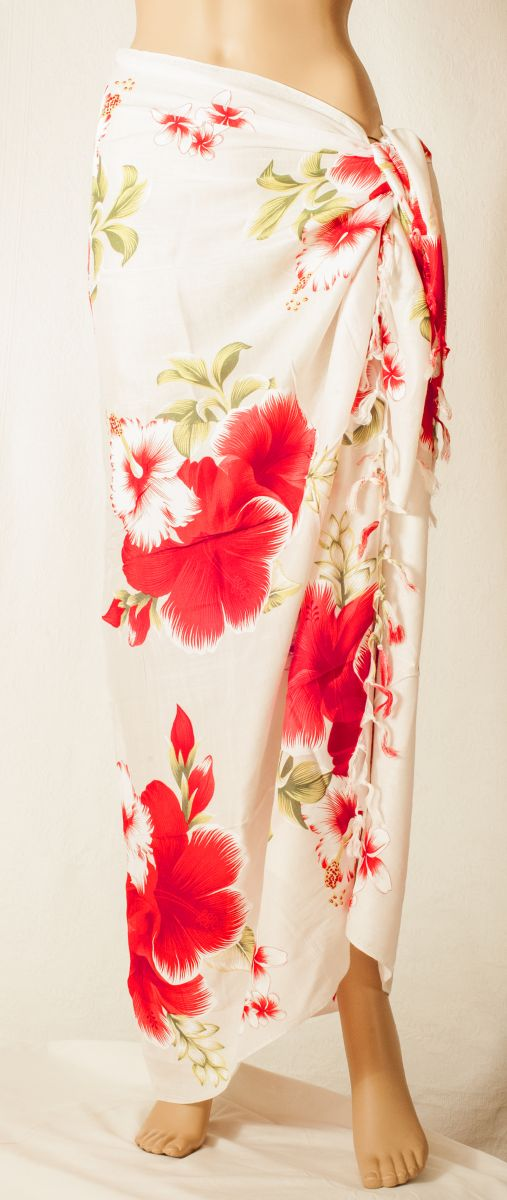 "Sarong ""White Red Hibiscus"""
