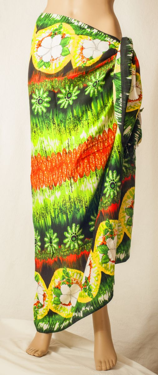 "Sarong ""Green/Orange White Hibiscus"""